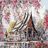 DAMENGXIANG DIY Diamant Malerei Neue Punktbohrer der Pfirsichblüte Kreuzstichbohrer 5D Volle Bohrgeräthand Eingelegte Hauptdekorationsmalerei 50 × 60Cm