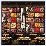 BHXINGMU Benutzerdefinierte 3D Fototapete Gewürze Gewürz Zutaten Rohstoffe Essen Wandmalerei Restaurant Küche Hintergrund Dekor Wandbild 230Cm(H)×310Cm(W)