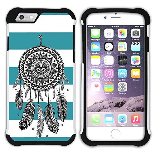 Graphic4You Traumfänger Linien Muster (Wasserblau) Hart + Weiche Kratzfeste Hülle Case Schale Tasche Schutzhülle für Apple iPhone 6 Plus / 6S Plus Türkis