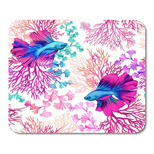 AOHOT Mauspads Watercolor Sea Amazing Marine Life Rainbow Fish Swimming in Coral Reefs Pattern Navy Algae Mouse pad 9.5