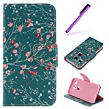 EMAXELERS LG Nexus 5X Hülle Elegant Retro Bunte Schmetterling Blumen Anime Muster PU Cover Handytasche Schale Handyhülle für LG Nexus 5X,Pink Flowers Tree Blue Case