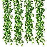 Vidillo Pianta Artificiale Ghirlanda, 12 Pezzi 84 Ft Edera Rampicante foglie verdi Fiori Esterne per Festa di Matrimonio e la Decorazione della Parete di Giardino (Grapes)