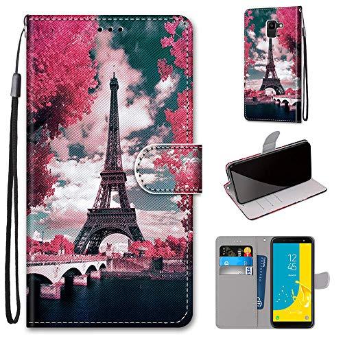 Miagon Flip PU Leder Schutzhülle für Samsung Galaxy J6 2018,Bunt Muster Hülle Brieftasche Case Cover Ständer mit Kartenfächer Trageschlaufe,Turm Blume
