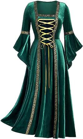 SHINEHUA Mittelalterliches Kostüm Damen Langarm Renaissance Mittelalter Samt Maxikleid Viktorianischen Königin Kleider Vintage Bandage Medieval Trompetenärmel Party Prinzessin Kleider