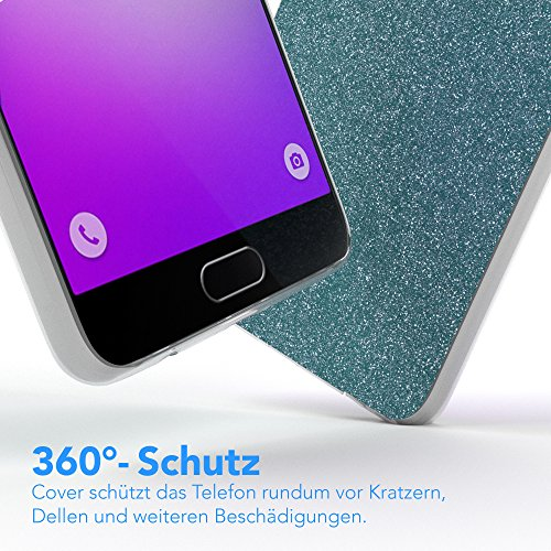 Samsung Galaxy A5 (2016) Hülle - EAZY CASE Handyhülle - Ultra Slim Glitzer Schutzhülle aus Silikon in Silber Glitzer Hellblau