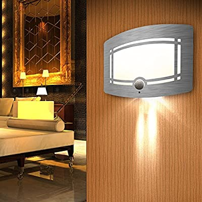 LED Wall Light, SOWTECH(TM) Luxury Aluminum Wireless Motion Sensor Lamp, Wall Sconce Night Light, Stick Anywhere Led Wall Mount Light, Auto On/Off for Hallway, Pathway, Staircase, and Wall etc.