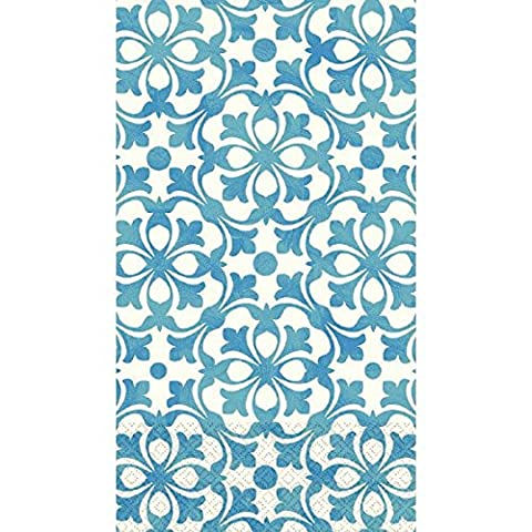 Amscan Blue French Quarter 7 Disposable 2 Ply Paper Guest Towels Tableware, 8 x 4.5