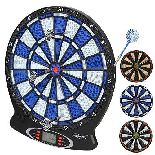 Physionics Elektronische Dartscheibe | 18 Spiele und 159 Spielvarianten | inkl. 6 Dartpfeile | LCD Dartautomat, Dartboard, Darts | in verschiedenen Farben
