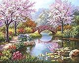 Guume Malen Nach Zahlen Rahmenlose Kirschblüten Landschaft DIY Digitale Malerei Durch Zahlen Einzigartiges Geschenk Acrylbild Handgemalte Ölgemälde 40X50 cm