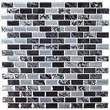Thedecofactory AVE10169 Faience Adhesive MARBRE Noir, Vinyle, Multicolore, 26 x 26 x...