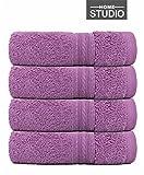 #2: HOME STUDIO - 650GSM - Zero Twist 100% Premium Cotton Hand Towel set - (Size-16x30in) ( Set of 4 ) ( Light Purple )