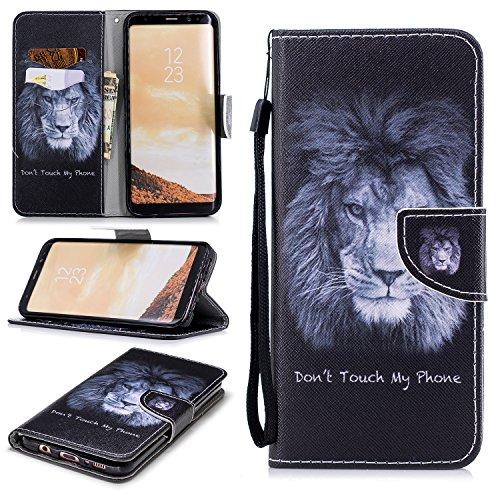 Preisvergleich Produktbild FNBK Samsung Galaxy S8 Hülle Leder Lanyard Löwe Flip Schutzhülle Silikon BackCover Flip Cover Wallet Bookstyle Handyhülle Tasche Stand Kartenfächer Ledertasche