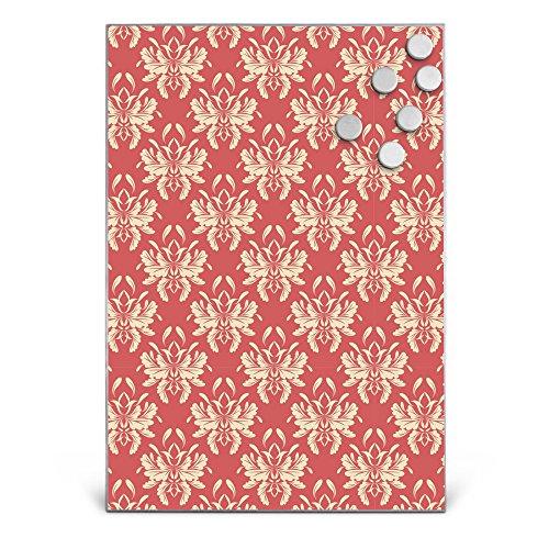 BANJADO Design Magnettafel Edelstahl, Schreibtafel magnetisch 35cm x 50cm, Memoboard mit 6 Magneten, Magnetwand mit Motiv Damast Rot 2