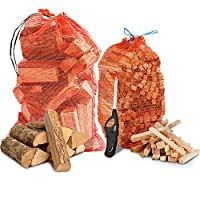 THE CHEMICAL HUT® Fire Wood Pack- 15kg Kiln Dried ASH Logs + 3kg Kindling + Clipper Wave Lighter - Comes with THE LOG HUT® Woven Sack.