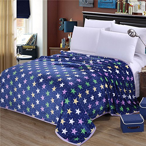 shinemoon Super Weich Warm 100% Polyester Fleece Wohnzimmer Schlafzimmer Überwurf Bett Sofa Snuggle Decke für Erwachsene Chilren Babys, 100 % Polyester, Deep Blue with Colorful Stars, 200x230cm