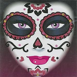 Forum Novelties X79269 - Tatuaje con purpurina para el día de los muertos, unisex adulto, color rosa, talla única