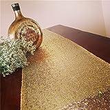 Tovaglia con lustrini dorati, tovaglia per banchetto nuziale, runner da tavola, varie dimensioni (personalizzabile), Altro, Gold, 90'*156'