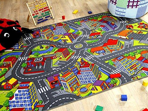 Alfombra infantil carretera de Little Town 3D - Gris - 17 tamaños