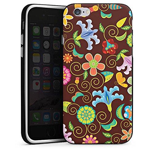 Apple iPhone X Silikon Hülle Case Schutzhülle Retro Bunt Blumen Silikon Case schwarz / weiß