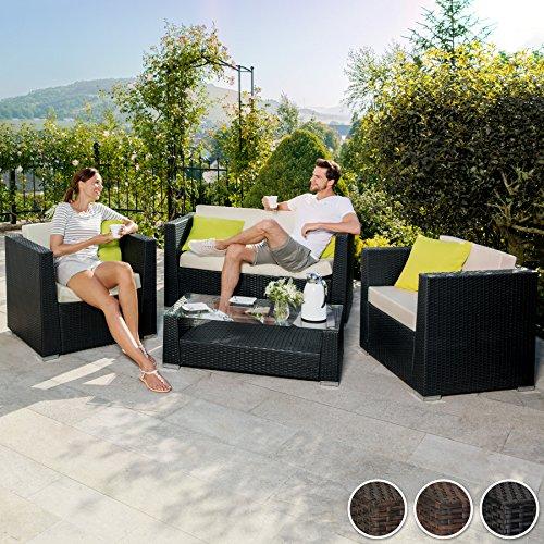 TecTake® Hochwertige Aluminium Luxus Lounge Poly-Rattan Sitzgruppe Sofa Rattanmöbel Gartenmöbel schwarz mit 2 Bezugsets und 4 extra Kissen mit Edelstahlschrauben - 2