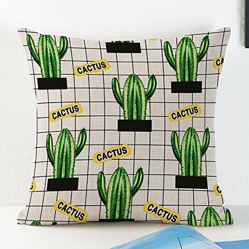 Confezione da 2fodere cuscino giallo federa cotone lino cuscini del divano cuscino laterale, verde cactus Dual copertura del cuscino, cotone/lino, C, 43 x 43 cm