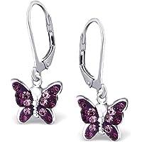 Mädchen Ohrhänger echt 925 Sterling Silber mit Zirkonia Kinder Ohrringe Schmetterlinge