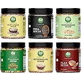 Go Vegan All Seeds Pack of - 1.5kg Combo of Raw Chia, Pumpkin, Muskmelon, Sunflower, Flax, Watermelon (250g Each)