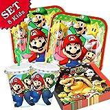 SUPER MARIO Geburtstag-Deko-Set, 52-teilig zum Kindergeburtstag für Jungen und Mädchen und Motto-Party für 8 Kids und Fans von Mario, Luigi, Bowser, Toad, Peach und Co