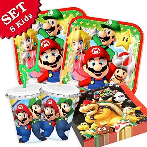 SUPER MARIO Geburtstag-Deko-Set, 52-teilig zum Kindergeburtstag für Jungen und Mädchen und Motto-Party für 8 Kids und Fans von Mario, Luigi, Bowser, Toad, Peach und Co (Geburtstagsparty Mario Luigi Und)