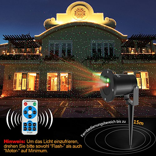 Weihnachten Projektorlampe Holloween, Projektion Lichter Sternen Sternenklare Lichter rot und grün Garten Innen im Freien Wasserdichte RF Fernbedienung