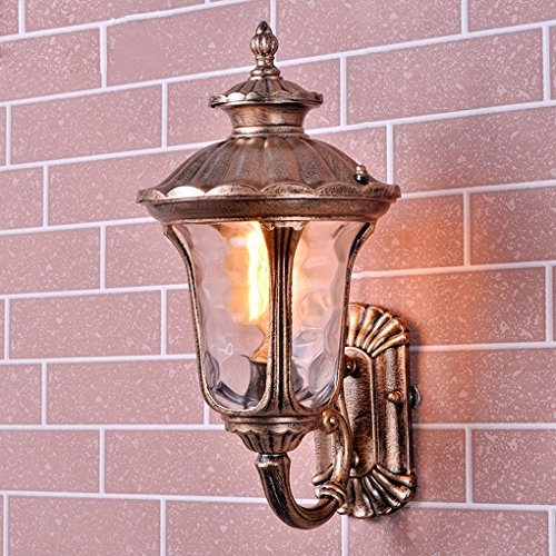 Galleria fotografica Lanterna della lampada da parete Applique da parete classica 1 × E27 Retro ottone metallo invecchiato anticato Corridoio Winter Garden Balcone Portico