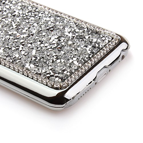 iPhone 6 Bling Hart Case - Felfy Apple iPhone 6 4,7 Zoll Diamant Luxus Kristall Strass Glitzer Shining Hard Back Cover Schale Handy Tasche Etui Hülle Protection + 1x Silber Stylus + 1x Screen Protecto Silber