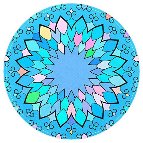 EZIOLY Mandala - Alfombra de baño Redonda Antideslizante y Lavable para Sala de Estar, Dormitorio, Cocina, Cuarto de Juegos de bebé, 40 x 40 cm
