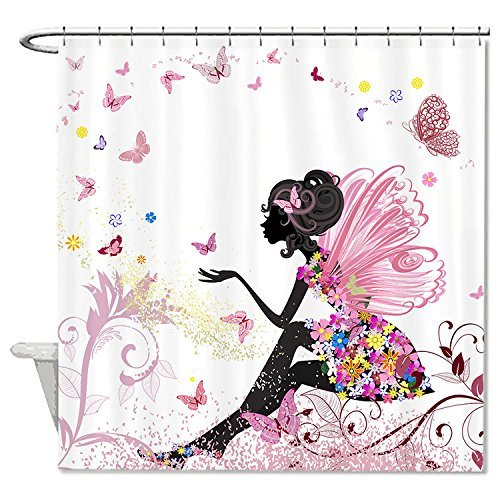 rioengnakg Schimmelresistent Polyester Clip Art Engel mit Schmetterlinge Duschvorhang Polyester Duschvorhang wasserdicht, Polyester, #1, 72'x72'(180x180cm)