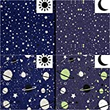 QT Jersey Stoff Weltall Planeten Glow in The Dark blau