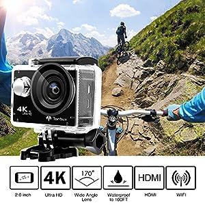 4K-Action-Kamera-WiFi-170Weitwinkel-Helmkamera-Unterwasserkamera-VON-Tonbux-4K-HD-2HD-BildschirmWasserdicht-30M-2x1050mAh-Akku-20-Zubehrfr-Tauchen-Motorrad-Fahrrad-Fahren-usw