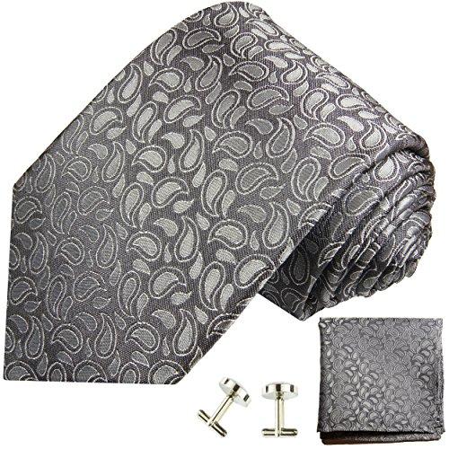 Cravate gris paisley ensemble de cravate 3 Pièces ( 100% Soie Cravate + Mouchoir + Boutons de manchette )