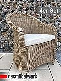dasmöbelwerk 4er Set Polyrattan Stuhl mit Sitzpolstern Rattan Stuhl Relax Sessel Gartenmöbel Gartenstuhl PANAMA Cappuccino
