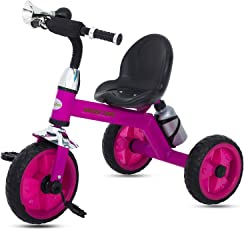 GoodLuck Baybee - Children Plug and Play Kids Tricycle Trike with Bugle Horn and Water Bottle Kid's for 2-5 Years Baby Tricycle Ride on Outdoor | Suitable Babies for Boys & Girls - (Pink)