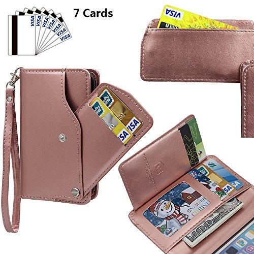 xhorizon TM MLK [Mise à niveau] [détachable] [séparable] 2 en 1 haut de gamme en cuir double-pli carte magnétique soutien le téléphone Compatible avec l'étui portefeuille avec cordon pour iPhone 5 / i Or Rose