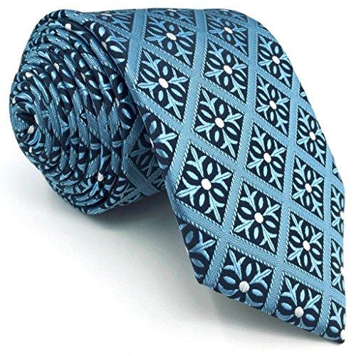 SHLAX&WING Entwurf Herren Krawatte Slate Blau Kariert Extra Lang Krawatte 63