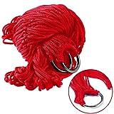 XCSOURCE Outdoor Sport Camping Hammock rete netta corda in nylon con anelli in metallo e corde (rosso) per Garden Beach Yard Travel HS885