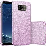 Finoo | Samsung Galaxy S8 Plus Rundum 3 in 1 Glitzer Bling Bling Handy-Hülle | Silikon Schutz-hülle + Glitzer + PP Hülle | Weicher TPU Bumper Case Cover | Lila