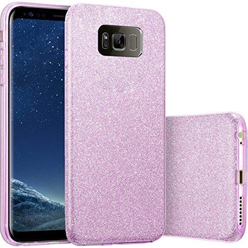 Finoo   Samsung Galaxy S8 Rundum 3 in 1 Glitzer Bling Bling Handy-Hülle   Silikon Schutz-hülle + Glitzer + PP Hülle   Weicher TPU Bumper Case Cover   Lila