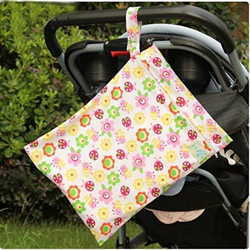 Baby Wasserdicht Reißverschluss Tasche waschbar wiederverwendbar Baby Tuch Windel Tasche w/Tiere und Blumen Muster Beige, 1pc Sunflower, NO.1