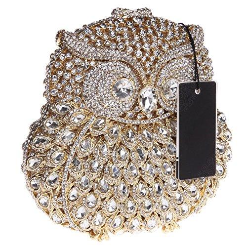 Santimon Clutch Delle Donne 3D Guto Diamante Cristallo Borsellini Borse Da Festa di Nozze Sera Con Tracolla Amovibile E Pacco Regalo 13 Colori oro