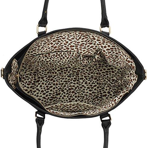 LeahWard® Plus detaille Femme Styliste Sacs Fourre-Tout Femme Élégance Sac Betoulière Sacs À Main Sac achats , Cabas 406 A-Noir/Nude