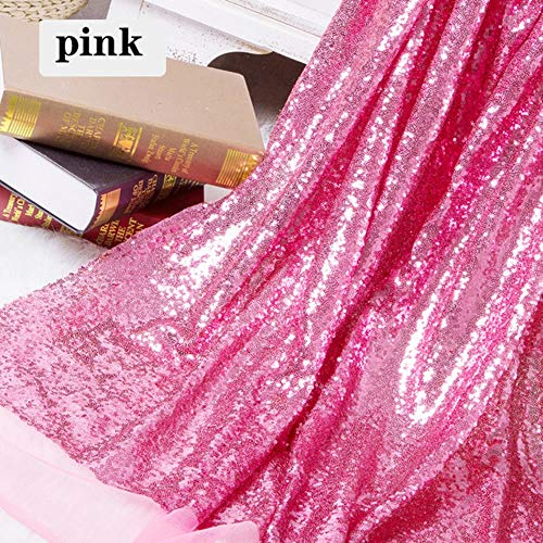 130x50cm DIY 3mm Paillette Paillette Stoff Sparkly Gold Silber Glitter Stoff für Kleidung Bühnenfest-Hochzeit Dekor, rosa, 130x50cm (Gold Rosa Und Stoff)