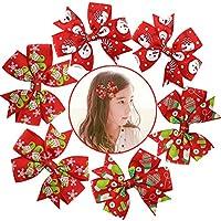 6pcs Ragazze Nastro di Natale Bow Tie Coccodrillo Clip di capelli Per i più piccoli