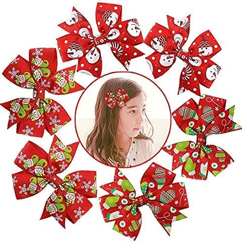 Fascigirl 6Pcs Haarschleife Baby Mädchen Weihnachten Krokodilklemmen für Kleinkinder